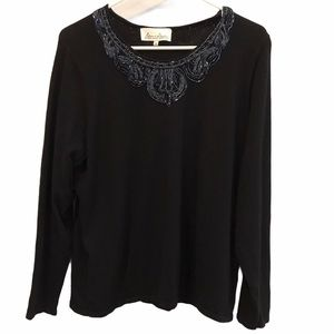 Michel Antoni black beaded long sleeve sweater 1x